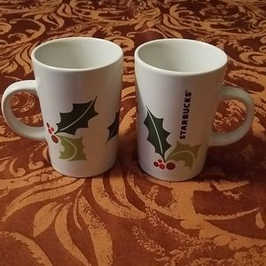 Starbucks Coffee Cups Mugs Holiday Holly Berries